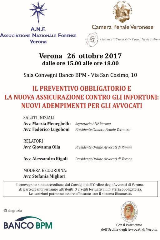 Convegno 26.10.2017 – Il Preventivo obbligatorio e la nuova assicurazione contro gli infortuni